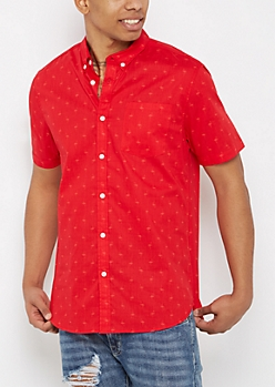 Tossed Flamingo Short Sleeve Shirt