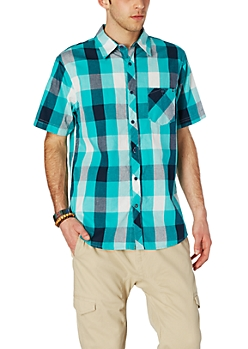 Teal Buffalo Check Short Sleeve Button Down