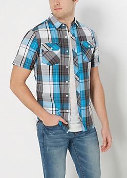 Blue Plaid Short Sleeved Shirt