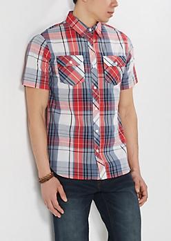 Red Plaid Short Sleeved Shirt
