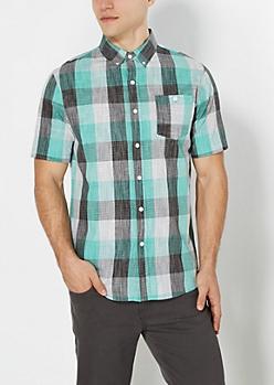 Green Buffalo Plaid Crosshatch Shirt
