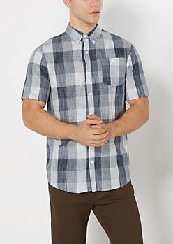 Navy Buffalo Plaid Crosshatch Shirt