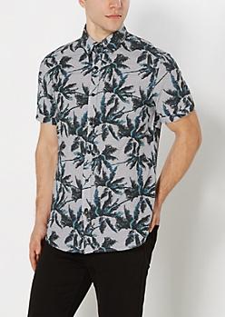 Palm Tree Striped Short Sleeve Shirt