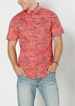 Reverse Hibiscus Short Sleeve Shirt