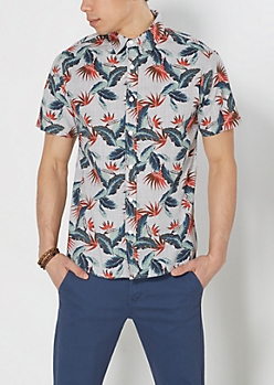 Tropical Crosshatch Short Sleeve Shirt
