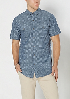 Micro Diamond Chambray Short Sleeve Shirt