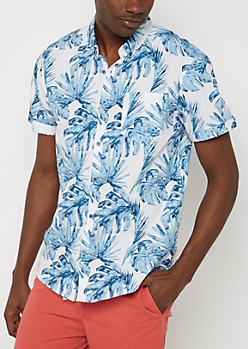 Blue Palm Short Sleeve Button Down