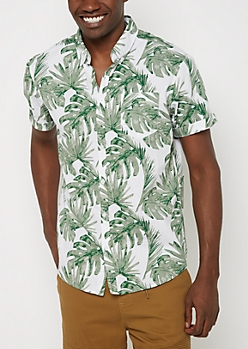 Green Palm Short Sleeve Button Down