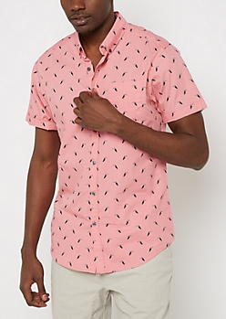 Tossed Toucan Short Sleeve Button Down