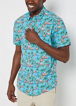 Flamingo Flock Short Sleeve Button Down