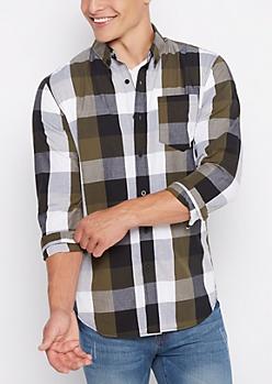 Olive Buffalo Check Shirt