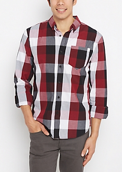 Burgundy Buffalo Check Shirt