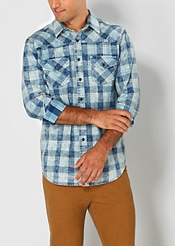 Blue Plaid Chambray Button Down