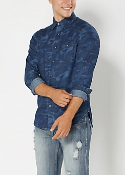 Blue Camo Chambray Button Down