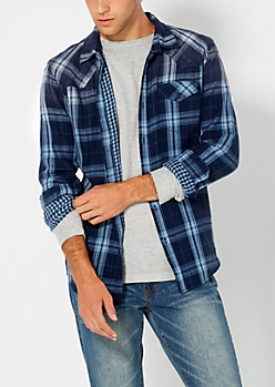 Checked & Plaid Blue Button Down