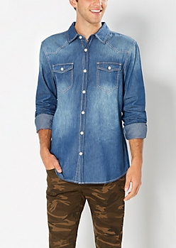 Medium Wash Chambray Button Down
