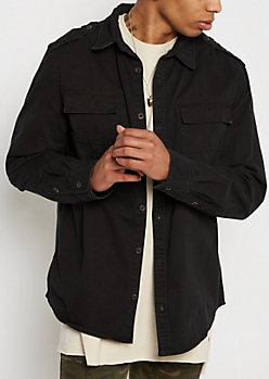 Black Distressed Twill Button Down
