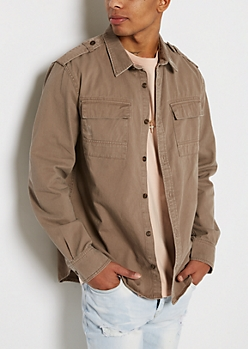 Khaki Distressed Twill Button Down
