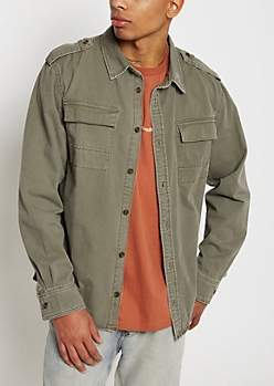 Olive Distressed Twill Button Down