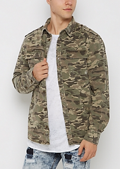 Distressed Camo Twill Button Down