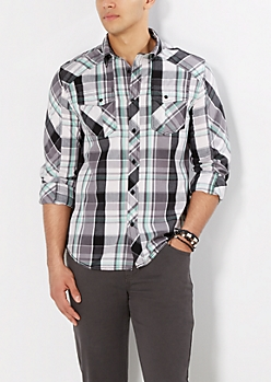 Minty Gray Plaid Button Down