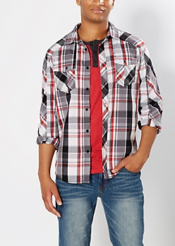 Red Pop Plaid Button Down