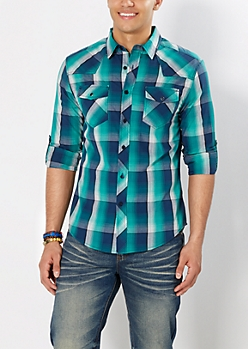 Forester Green Plaid Button Down