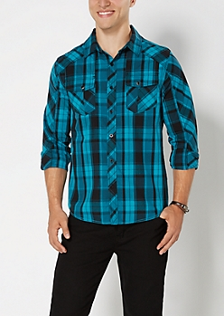 Turquoise Plaid Button Down