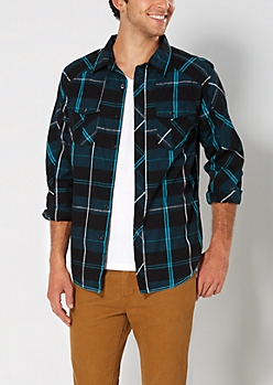 Black & Blue Plaid Button Down