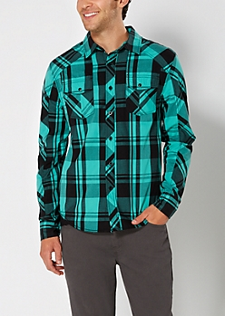 Mint Plaid Button Down