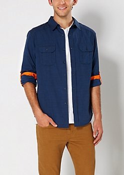 Cobalt Crosshatch Button Down