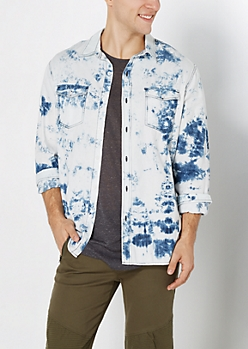 Acid Washed Denim Button Down