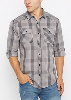 Gray Vintage Plaid Button Down