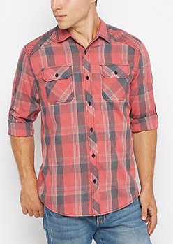 Red Vintage Plaid Button Down