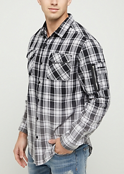 Black Ombre Plaid Brushed Flannel Shirt