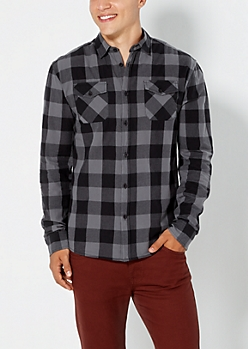 Charcoal Gray Buffalo Plaid Button Down