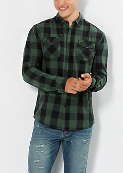 Dark Green Buffalo Plaid Button Down