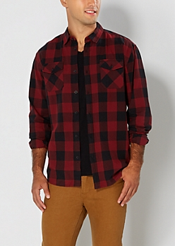 Burgundy Buffalo Plaid Button Down
