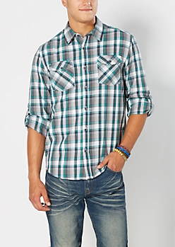 Mint & Gray Plaid Button Down