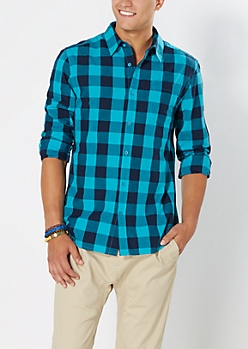 Turquoise Buffalo Check Button Down
