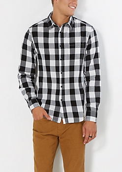 Black & White Buffalo Check Button Down