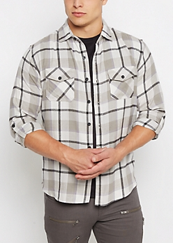 Gray Soft Woven Plaid Button Down
