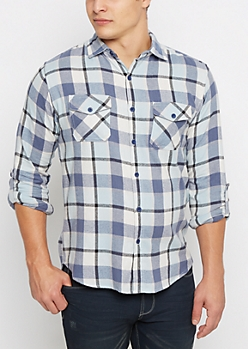 Navy Soft Woven Plaid Button Down