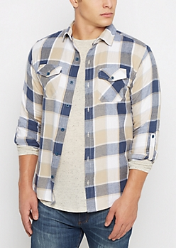 Navy Soft Plaid Button Down