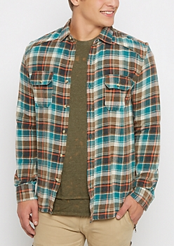 Green Tartan Plaid Flannel Shirt