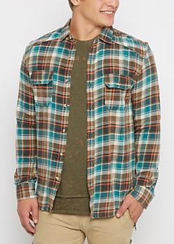 Green Tartan Plaid Flannel Shirt