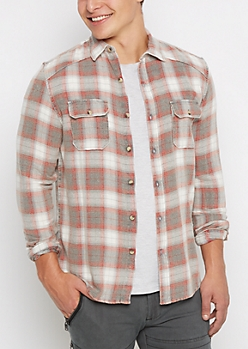 Gray Tartan Plaid Flannel Shirt