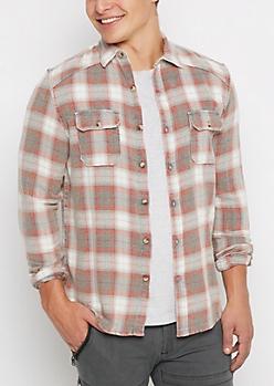 Gray Tartan Plaid Flannel Shirt