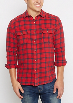Red Tartan Plaid Vintage Flannel Shirt