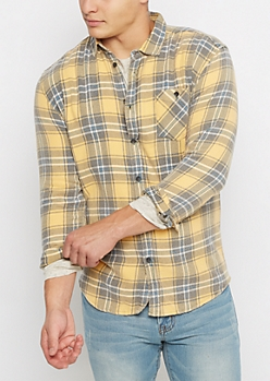 Yellow Plaid Vintage Flannel Shirt